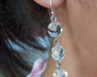 Crystal Bead Drop Earrings / Light elegant up-cycled vintage glass beads sparkle flash summer dress-up