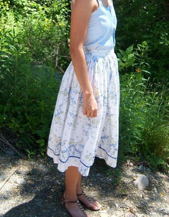 RESERVED FOR LAURA / Summer Skirt Blue Floral 1960s / Shabby Sweet