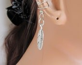 Silver Ear Cuff Wrap Cartilage Feather Charm