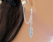 Chain Ear Cuff Wrap Cartilage Non Pierced Silver Large Feather and Earring