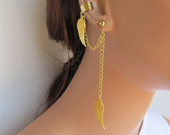 Gold Chain Ear Cuff Angel Wings