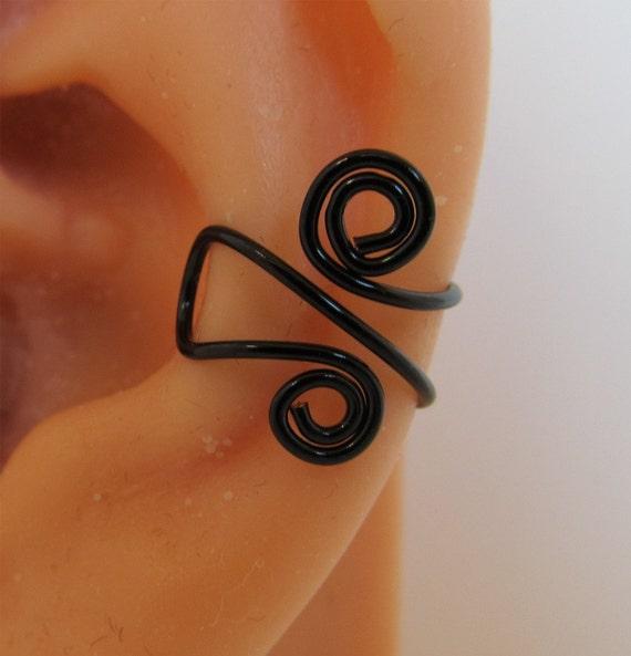 Ear Cuff Wrap Cartilage Non Pierced Spiraled Black Artistic Wire