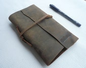 """Leather Journals/Refillable 2 holes punch/5 x 7 """"/in Teak brown  color /Blank paper/code 0434"""