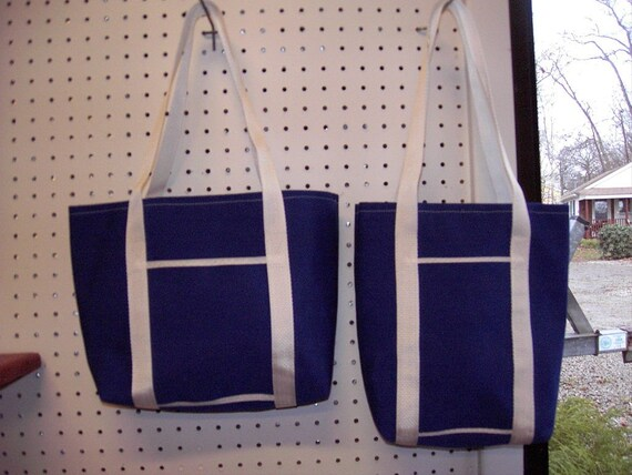 Size Medium Lined Blue Sunbrella Nautical Tote