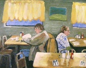 "Oil Painting PRINT ,""Diner"", 11X14 Fine Art print , Wall Art, hand-signed, restaurant, people at diner, interior scene, sunshine,figurative"