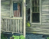"""Giclee Canvas Print,8x10 of original oil painting,Old House, American Flag   by Patty Fleckenstein-""""WELCOME"""""""