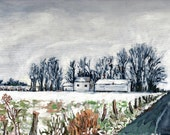 Winter Landscape Original Painting 9X12 canvas or 11X14 Print, Countryscape, Country road, New York State scene, Wall Art, P. Fleckenstein