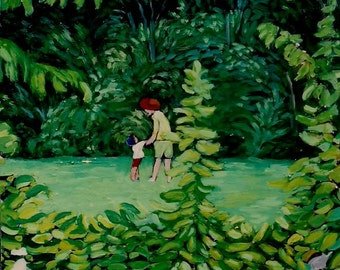 MAY DAY Acrylic Painting PRINT of original,8X10,green,nature,trees,family