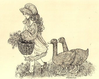 Pair of Geese Art Print of my original pen and ink drawing
