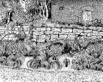 "Pen Drawing Art PRINT of my original, 8x10,handsigned landscape,nature,botanical "" Garden For Jordan N.Y."" by Patty Fleckenstein"