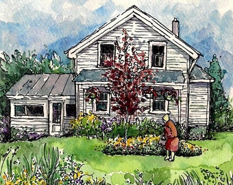 Original Small Watercolor-Garden,flowers,old house,old woman, 5X7 matted to 8X10