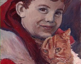 Original Oil Painting-Boy and Cat-8X10-Orange tabby Cat-Portrait-Patty Fleckenstein