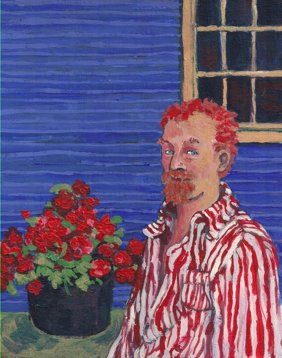 Vincent Van Gogh and some Geraniums in 2012 - Original Painting - 8X10