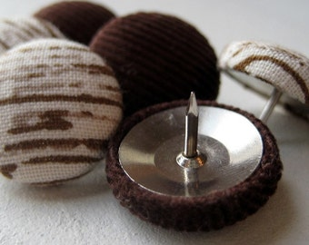 Push Pins,6 Pushpins,Thumbtacks,Thumb Tacks,Decorative Push Pins,Brown,Corduroy,Woodgrain,Gift,Bulletin Board,Pretty Thumbtacks,Cubicle