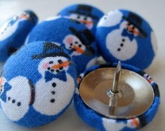 Pushpins,6 Push Pins,Thumbtacks,Thumb Tacks,Decorative Pushpins,Holiday Pushpins,Home Decor,Office Decor,Snowmen Pushpins,Holiday Decor