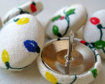 Thumb Tacks,6 Thumbtacks,Pushpins, Push Pins,White,Cream,Blue,Red,Yellow,Green,Stocking Stuffer,Holiday Gift,Gift,Christmas Lights,Teacher,