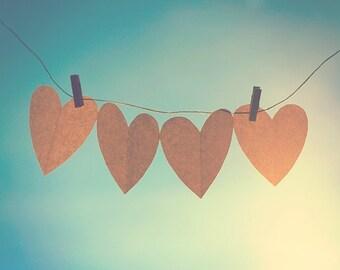 love 8 x 10 photograph, hearts, blue sky, home decor, nursery childrens wall art