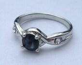 Vintage Jewelry Sapphire Rhinestone Ring Size 6 Glass Crystal Rhinestone