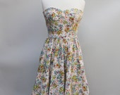 80s Vintage Strapless Floral Print Dress - SMALL / xs