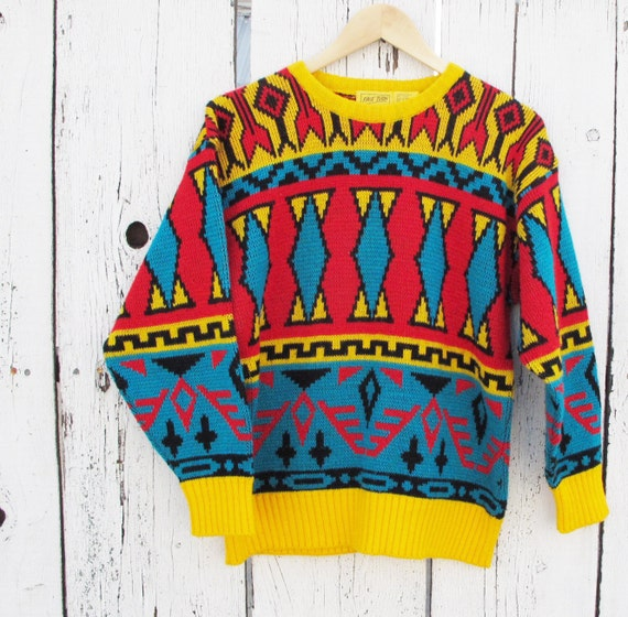80s Bright Southwest Geometric Pattern Sweater - MEDIUM