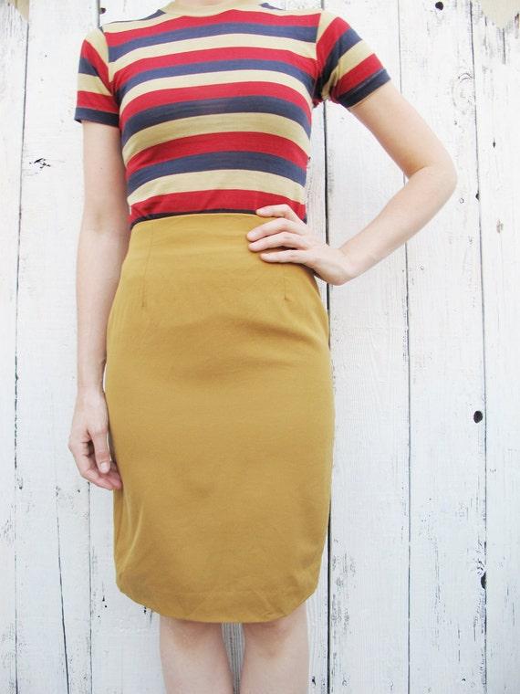 80s mustard yellow wool pencil skirt sz 6