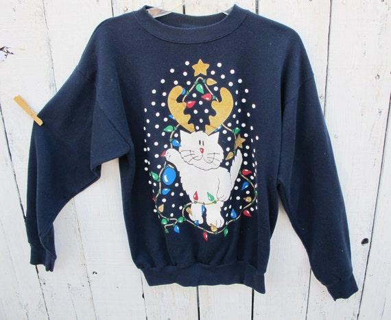 80s Vintage Reindeer Cat Holiday Sweatshirt - LARGE