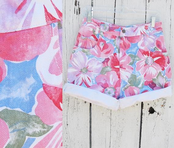 Vintage 80s High Waist Floral Denim Shorts size LARGE