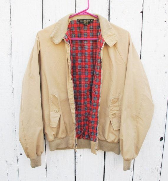 80s Men's Tan Jacket with Plaid Lining - MEDIUM