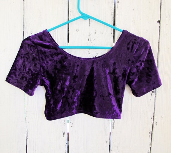 Crushed Velvet Super Crop Top  80s - SMALL