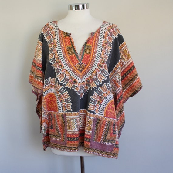 80s Vintage Faded African Dashiki Tunic - XL