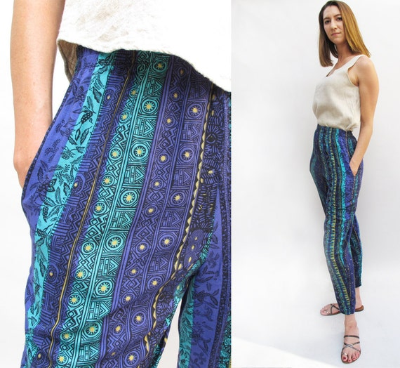 Vintage 80s Casual Tribal Print Beach Pants size SMALL