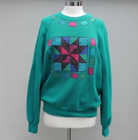 80s Vintage Teal Sweatshirt with Quilt Applique Design - LARGE