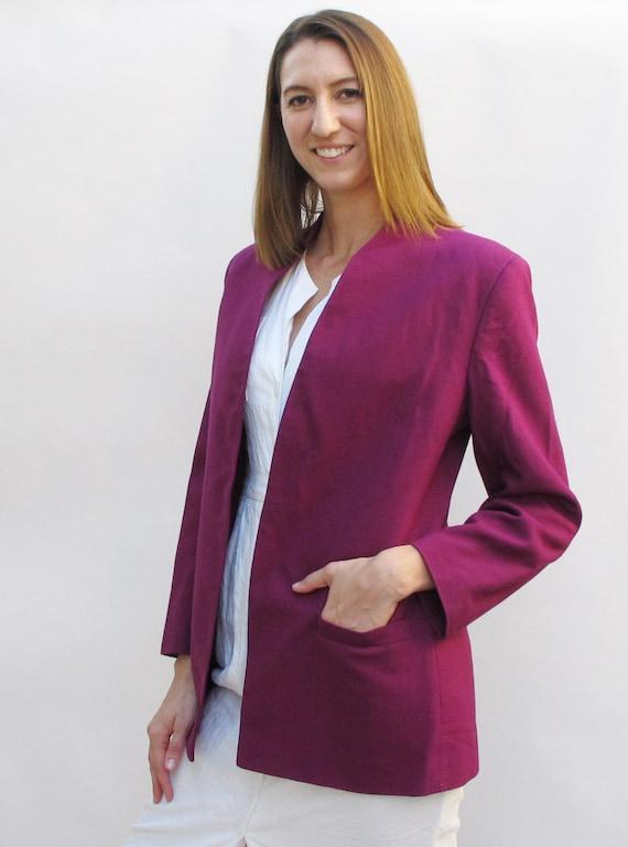 Vintage 80s Christian Dior Ladies Blazer in Magenta Purple size 12