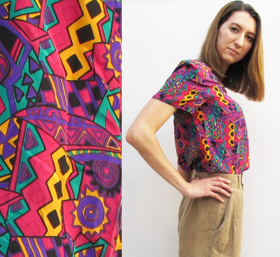 Vintage 80s Abstract Tribal Print Silk Blouse size SMALL