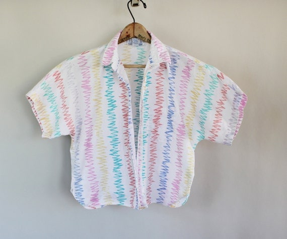 80s Vintage Cropped Zig-Zag Pattern Women's Shirt - SMALL