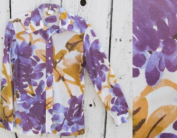 70s Vera Neumann Abstract Floral Print Blouse - MEDIUM