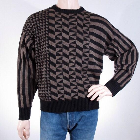 Vintage Sweater 80s Le Tigre Sweater Asymmetric Geometric Pattern size XL