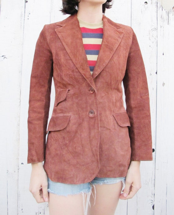70s Ladies Suede Blazer Rusty Rose color - MEDIUM