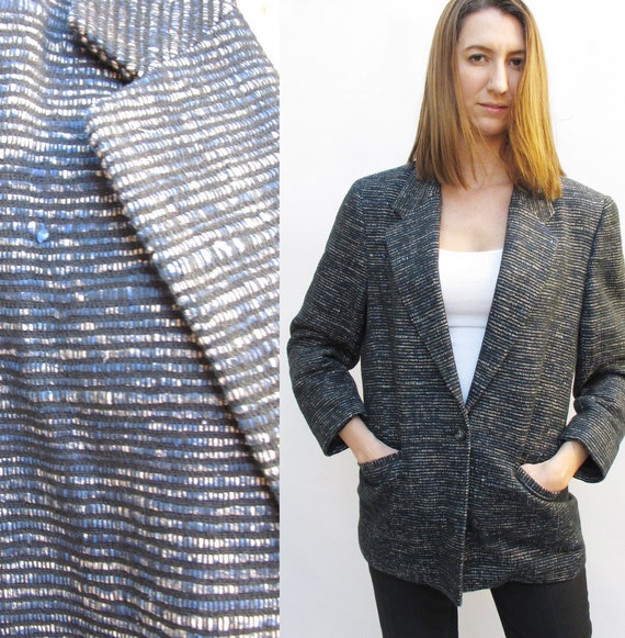 Vintage 80s Textured Silk Blazer