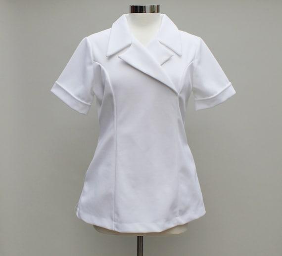 70s Vintage Polyester Nurse Shirt - LARGE