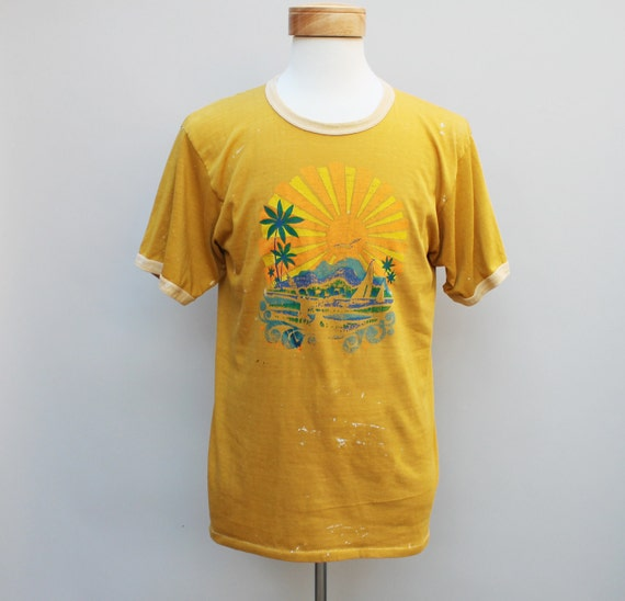 70s Vintage Paint Stained Yellow Ringer T-Shirt - LARGE