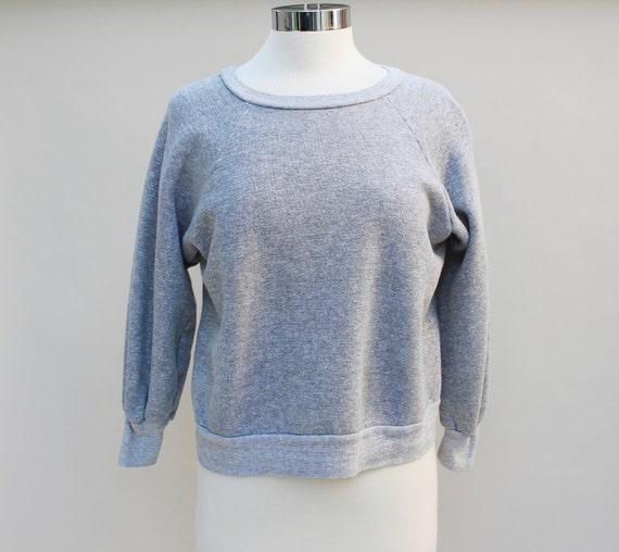80s Vintage Plain Gray Athletic Sweatshirt - MEDIUM