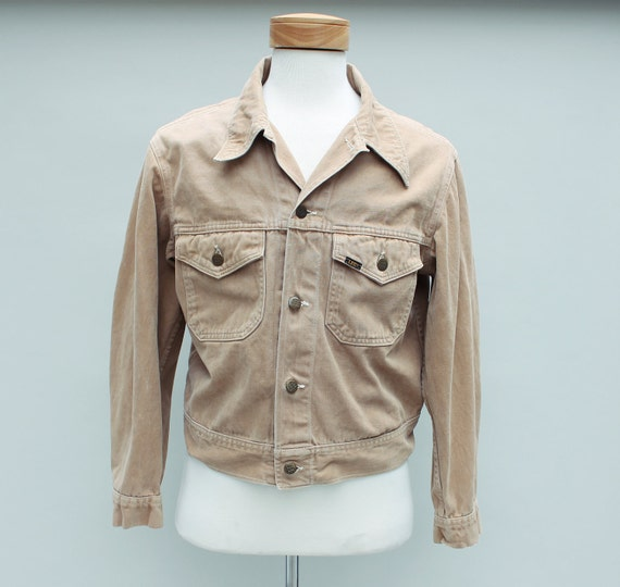 60s Vintage Men's Lee Brand Beige Cotton Jacket - Medium