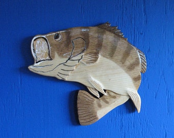 Large Mouth Bass Wall Hanging, Wall Plaque, Bass, Largemouth Bass, Fishing, Fisherman