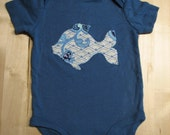 RESERVED FOR TAYLOR82 Dark Blue Paisley Fish Onesie