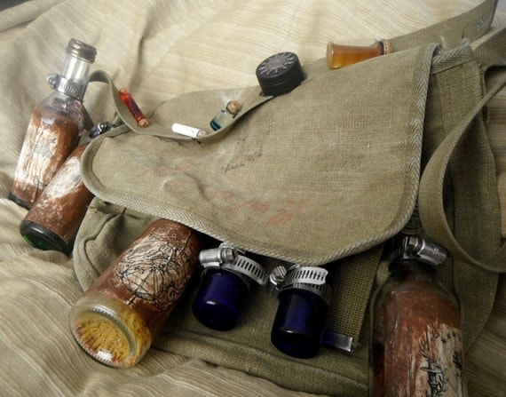 Scientist's Bandoleer and Messenger Bag, steampunk bag purse