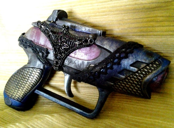 RESERVED Peacock Lace Derringer steampunk WORKING cap gun