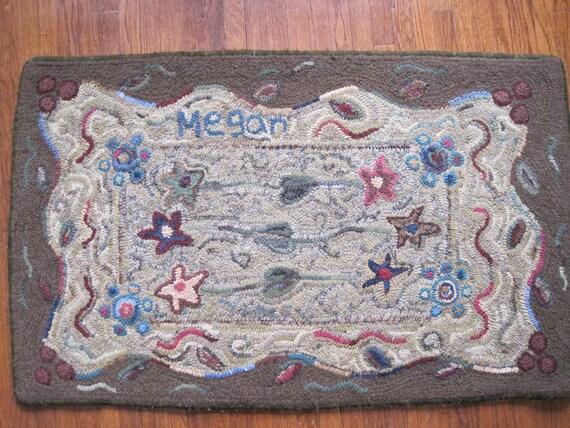 Star Garden-Primitive Linen-Hooked Rug Pattern