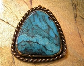 RESERVED Turquoise and Brass Bronze Pendant Hallmarked and Well Made 1960's