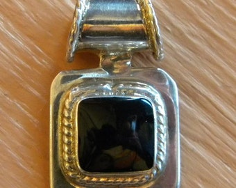 Sterling Silver and Square Onyx Pendant from Mexico